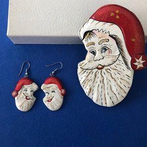 Santa earrings & scarf or tee-shirt slide set.